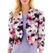 Black Label by Evan-Picone Stand-Collar Floral Print Bolero Jacket