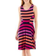 a.n.a® Sleeveless Stripe Fit-and-Flare Dress