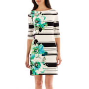 Studio 1® Elbow-Sleeve Floral and Stripe Dress