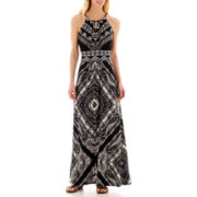 London Times® Keyhole Halter Print Maxi Dress