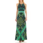 London Times® Banded-Waist Floral Halter Maxi Dress