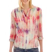 a.n.a® 3/4-Sleeve Roll-Tab Pleated Mandarin Collar Blouse - Tall