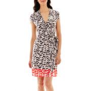 Liz Claiborne® Short-Sleeve Faux-Wrap Contrast-Border Dress