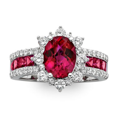 jcpenney.com | Lab-Created Ruby and White Sapphire Sterling Silver Starburst Ring