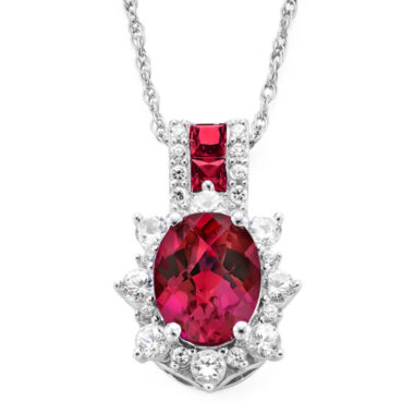 jcpenney.com | Lab-Created Ruby and White Sapphire Sterling Silver Starburst Pendant Necklace