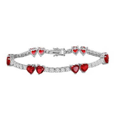 jcpenney.com | Lab-Created Ruby and Cubic Zirconia Heart Bracelet
