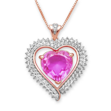 jcpenney.com | Lab-Created Pink and White Sapphire Heart Pendant Necklace