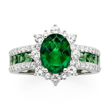 jcpenney.com | Lab-Created Emerald and White Sapphire Sterling Silver Starburst Ring