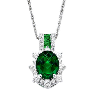 jcpenney.com | Lab-Created Emerald & White Sapphire Sterling Silver Starburst Pendant Necklace