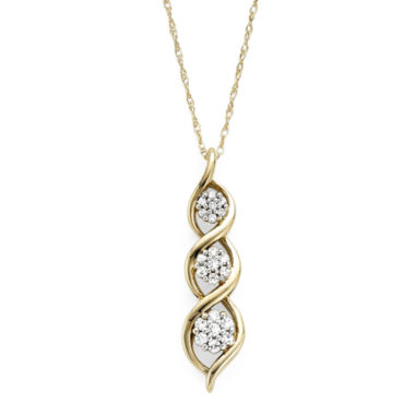 jcpenney.com | diamond blossom 1/5 CT. T.W. Diamond 10K Yellow Gold Drop Pendant Necklace