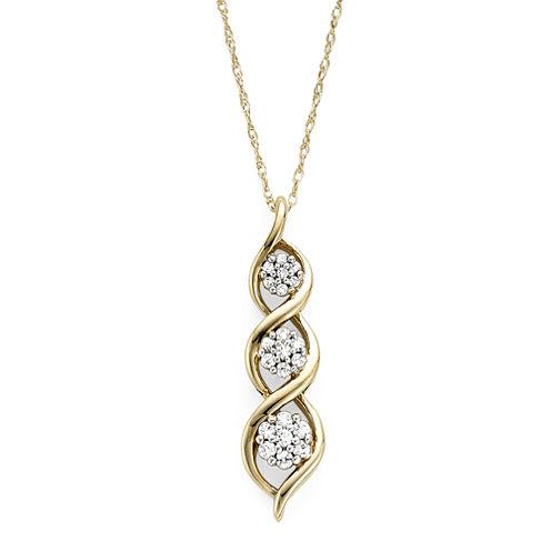 diamond blossom 1/5 CT. T.W. Diamond 10K Yellow Gold Drop Pendant Necklace