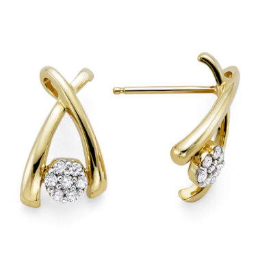 jcpenney.com | diamond blossom 1/10 CT. T.W. Diamond 10K Yellow Gold Wishbone Cluster Earrings