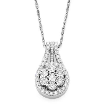diamond blossom 1/3 CT. T.W. Diamond Cluster Orbit Pendant Necklace