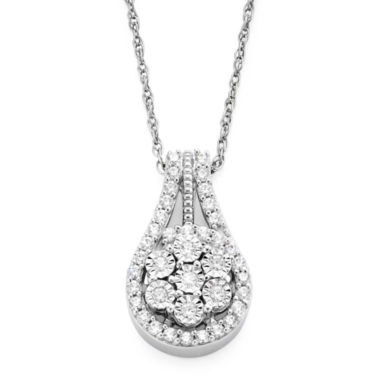 jcpenney.com | diamond blossom 1/3 CT. T.W. Diamond Cluster Orbit Pendant Necklace