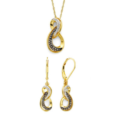 jcpenney.com | 1/5 CT. T.W. White and Champagne Diamond Infinity Pendant & Earring Boxed Set