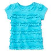 Okie Dokie® Short-Sleeve Ruffle Top – Girls 12m-24m