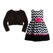 Disorderly Kids® Cardigan or Youngland® Chevron Dress – Toddler Girls