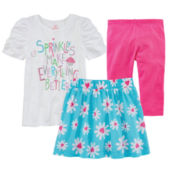 Okie Dokie® Ruched Tee, Print Skort or Capri Leggings – Preschool Girls 4-6x
