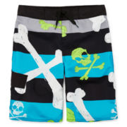 Arizona Skull & Crossbones Striped Swim Trunks – Boys 8-20