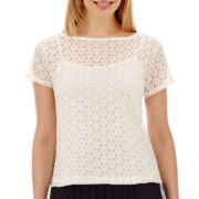 Liz Claiborne® Short-Sleeve Lace Top with Cami - Petite