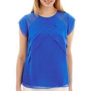 Liz Claiborne® Short-Sleeve Ruffled Top - Petite