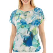 Liz Claiborne® Short-Sleeve Banded Print Top - Petite