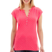 Liz Claiborne® Short-Sleeve Dot Henley Top - Petite
