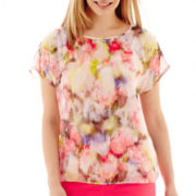 Liz Claiborne® Short-Sleeve Banded Print Blouse with Cami - Petite
