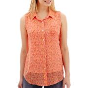 Liz Claiborne® Sleeveless Campshirt - Petite