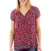 Liz Claiborne® Short-Sleeve Tie-Neck Print Peasant Blouse