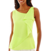Liz Claiborne® Sleeveless Ruffled Blouse
