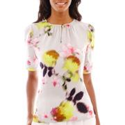 Liz Claiborne® Elbow-Sleeve Floral Blouse