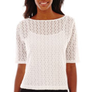 Liz Claiborne® Elbow-Sleeve Dot Top with Cami