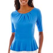 Liz Claiborne® Elbow-Sleeve Peplum Top
