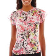 Liz Claiborne® Short-Sleeve Ruffled Print Blouse
