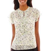 Liz Claiborne® Short-Sleeve Ruffled Print Blouse