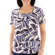 Alfred Dunner® Short-Sleeve Smocked Print Top