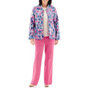Alfred Dunner® Bon Voyage Quilted Print Jacket, Sweater Shell or Pull-On Pants