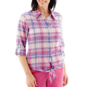 Alfred Dunner® Bon Voyage Elbow-Sleeve Roll-Tab Tie Waist Plaid Shirt