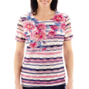 Alfred Dunner® Bon Voyage Short-Sleeve Floral Stripe Knit Top