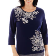 Alfred Dunner® Bon Voyage 3/4-Sleeve Check Appliqué Knit Top