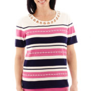 Alfred Dunner® Bon Voyage Short-Sleeve Beaded Striped Sweater