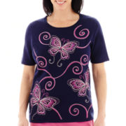 Alfred Dunner® Bon Voyage Short-Sleeve Embroidered Butterfly Sweater - Petite