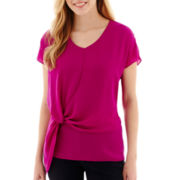 a.n.a® Short-Sleeve Knot-Front Blouse