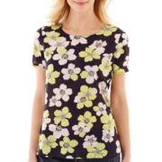 Liz Claiborne® Short-Sleeve Floral Woven Top
