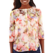 Liz Claiborne® 3/4-Sleeve Floral Split-Back Blouse with Cami