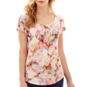Liz Claiborne® Short-Sleeve Floral Print Tee