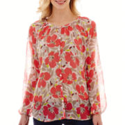 Liz Claiborne® Long-Sleeve Floral Print Blouse with Cami