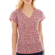 Liz Claiborne® Short-Sleeve V-Neck Print Tee
