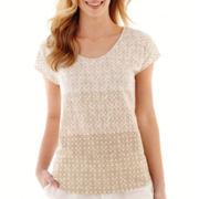 Liz Claiborne® Short-Sleeve Ombré Dot Tee
